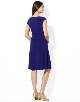 Lauren Ralph Lauren Cap-Sleeved Bateau-Neck Jersey Dress