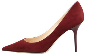 Jimmy Choo Agnes Suede Pointed-Toe Pump, Claret