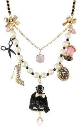 "Betsey Johnson Paris is Always a Good Idea"" Dress Form Multi-Charm Necklace, 19"""