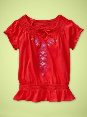 Gap Embroidered flounce top