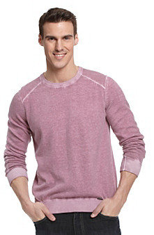 Calvin Klein Jeans Men's Deep Orchid Acid Wash Yarn-Dyed Lightweight Sweater