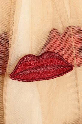 Pout appliquéd stretch-cotton and tulle dress