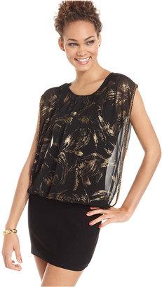 Amy Byer Juniors Dress, Cap Sleeve Printed Blouson