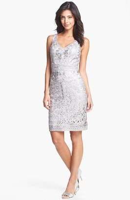 Sue Wong Embroidered Lace Sheath Dress