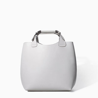Zara Leather Shopper With Laminated Interior