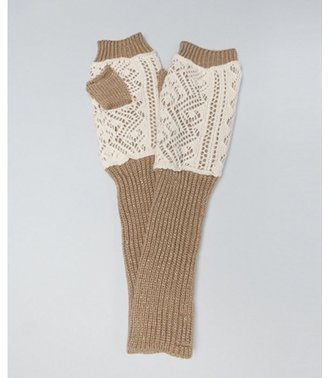 Laundry by Shelli Segal warm white and gold lace knit fingerless gloves