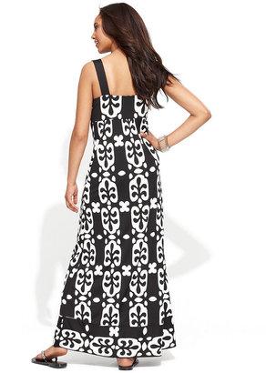 INC International Concepts Dress, Sleeveless Crochet-Trim Printed Maxi