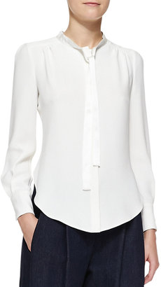 ADAM by Adam Lippes Long-Sleeve Tie-Neck Blouse, Ivory