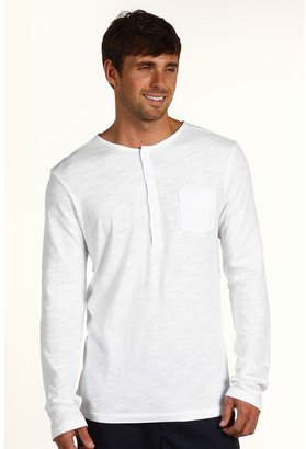 Ben Sherman Plectrum Long Sleeve Grin Stitch Henley Shirt (White) - Apparel