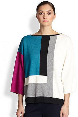 St. John Maxi Calder Colorblock Dolman-Sleeved Sweater