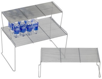 Container Store Medium Flat Wire Stacking Shelf Silver
