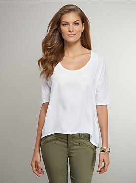 New York & Co. Woven-Front Dolman Sleeve Top