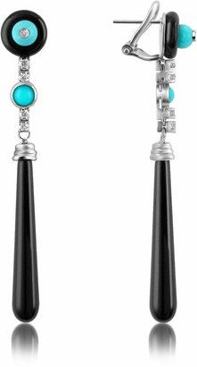 Del Gatto Diamond and Onyx Drop Earrings
