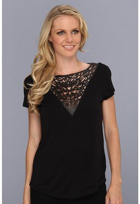 Townsen - Leather Laser Cut Top (Black) - Apparel