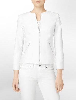 Calvin Klein Exposed Zip Collarless Blazer