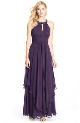 Eliza J Embellished Tiered Chiffon Halter Gown $198 thestylecure.com