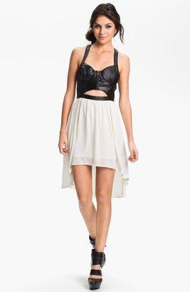 Lush Clothing Cutout Faux Leather Bustier Dress (Juniors)