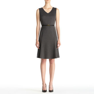 Jones New York Fit and Flare Ponte Knit Dress with V-Neck (Plus)