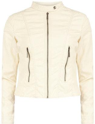 Dorothy Perkins Cream leather look biker jacker