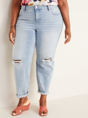 Old Navy Extra High-Waisted Secret-Slim Pockets Distressed Boyfriend Straight Plus-Size Jeans