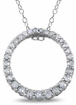 Concerto Diamond Open Circle Pendant Sterling Silver Necklace