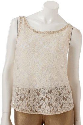 JLO by Jennifer Lopez embellished lace tank