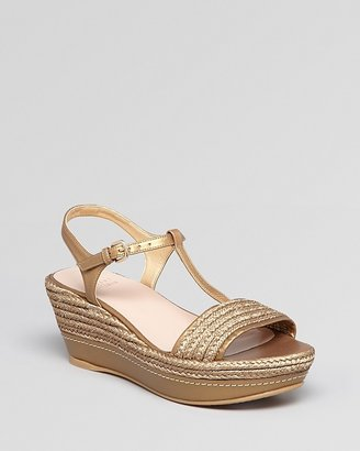 Stuart Weitzman Open Toe Platform Wedge Sandals - Flatty Raffia
