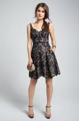 Jill Stuart Jill Embroidered Organza Fit & Flare Dress