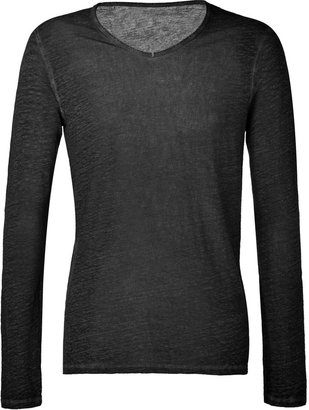 Majestic Dyed Black Linen Long Sleeve V-Neck T-Shirt