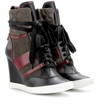 Chloé Leather and suede wedge sneakers