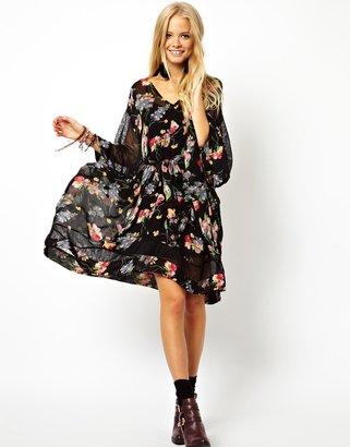 Asos Lace And Floral Kimono Dress