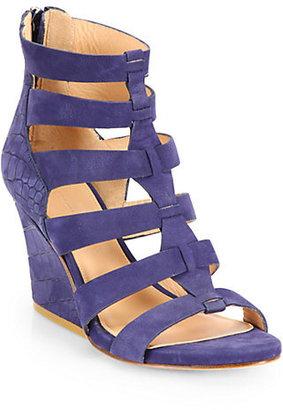 Sigerson Morrison Vernice Croc-Embossed Suede Wedge Sandals