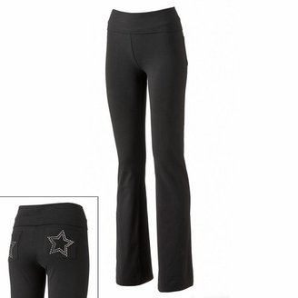 One step up studded star fold-over yoga pants - juniors