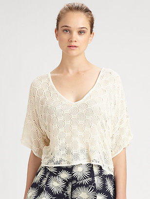 Milly Lucia Cropped Crochet Top