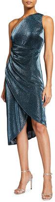 Aidan Mattox Metallic Knit One-Shoulder Draped Skirt Dress