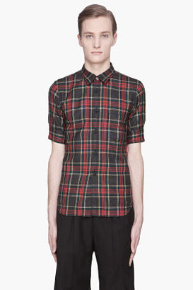 Comme des Garcons Grey and red Wool Tartan Shirt