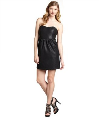 Wyatt black faux-leather bustier strapless 'Shawn' party dress