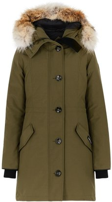 Canada Goose Rossclair Army Green Fur-trimmed Arctic Tech Parka