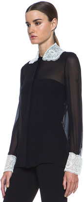 Valentino Embroidered Collar & Cuff Embellished Silk Blouse in Black