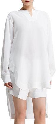 Chloé Long-Sleeve Silk Crepe de Chine Blouse, Milk