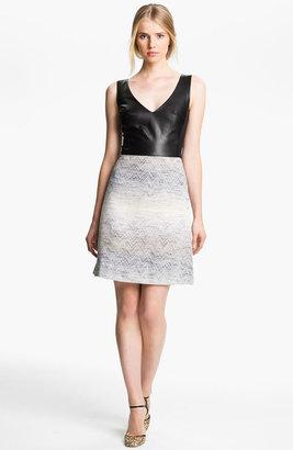 L'Agence Leather & Jacquard Dress