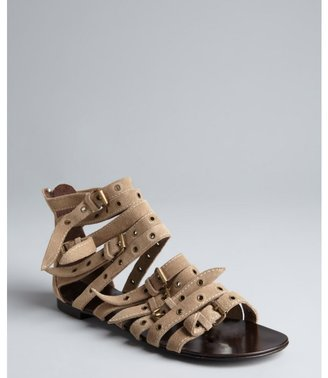 Giuseppe Zanotti sand suede buckle and grommet detail 'Roll' gladiator sandals