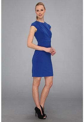 Vince Camuto Cap Sleeve Crepe Dress w/ Front Drape & Zipper Detail