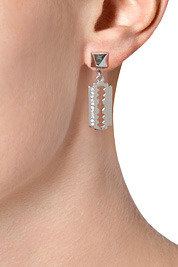 Tom Binns Razor Blade/Pyramid Earrings in Silver
