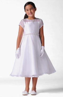 Us Angels Short Sleeve Organza Dress (Little Girls)