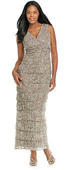 R & M Richards RM Richards R&M Richards® Lace Surplice Long Shutter Dress