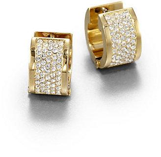 """Michael Kors Pavé Goldtone Huggie Earrings/0.5"""""""