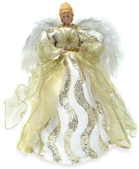 Bed Bath & Beyond 16-Inch Angel Tree Topper with White and Gold-Accented Fabric Gown