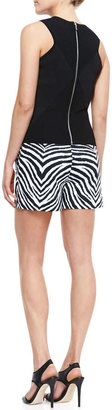 Milly Ribbed Knit Diamond Shell & Zebra-Print Relaxed Twill Shorts