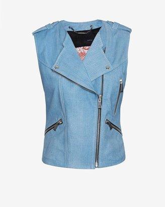 Barbara Bui Moto Leather Vest: Blue Jean